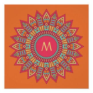 Your Monogram in a Boho Frame custom poster