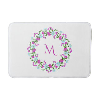 Your Monogram in Flower Frame bath mats