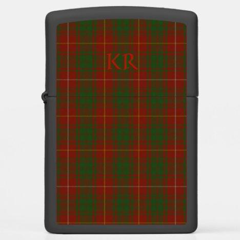 Your monogram initials on Bruce Clan tartan Zippo Lighter