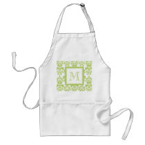 Your Monogram, Light Green Damask Pattern 2 Adult Apron