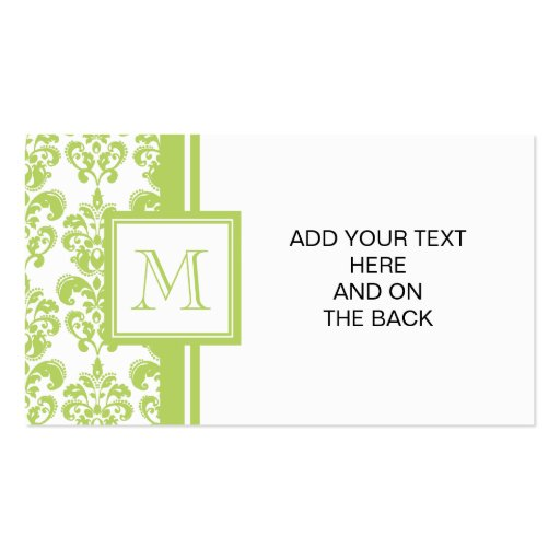 Your Monogram, Light Green Damask Pattern 2 Business Card