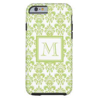 Your Monogram, Light Green Damask Pattern 2 Tough iPhone 6 Case