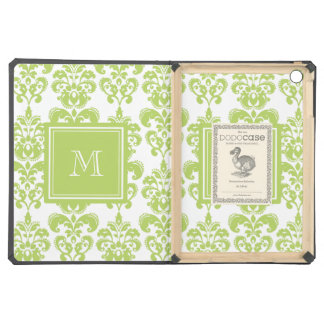 Your Monogram, Light Green Damask Pattern 2 iPad Air Cases