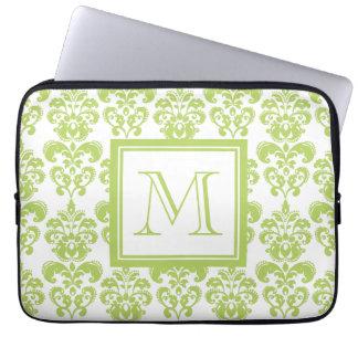 Your Monogram, Light Green Damask Pattern 2 Computer Sleeve