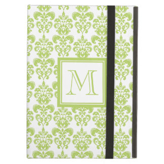 Your Monogram, Light Green Damask Pattern 2 iPad Air Covers