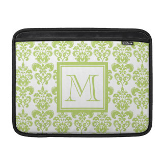 Your Monogram, Light Green Damask Pattern 2 Sleeves For MacBook Air
