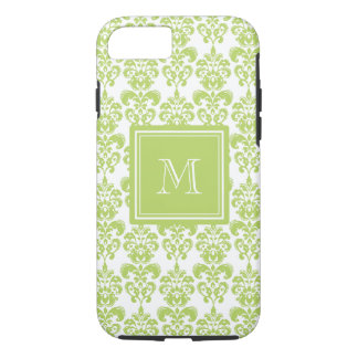 Your Monogram, Light Green Damask Pattern 2 iPhone 7 Case