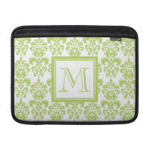 Your Monogram, Light Green Damask Pattern 2 MacBook Air Sleeve