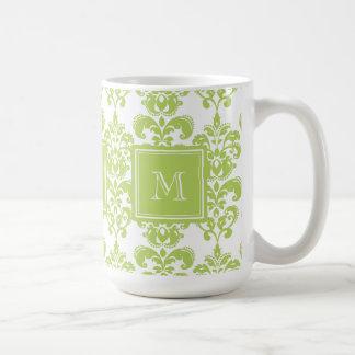 Your Monogram Light Green Damask Pattern 2 Coffee Mugs