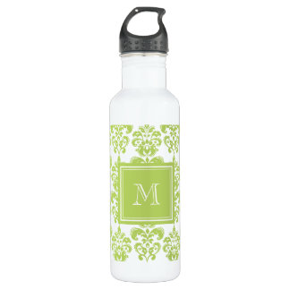 Your Monogram, Light Green Damask Pattern 2 24oz Water Bottle