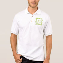 Your Monogram, Light Green Damask Pattern 2 Polo Shirt
