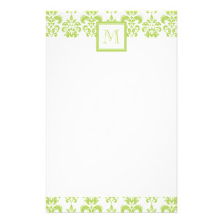Your Monogram, Light Green Damask Pattern 2 Stationery