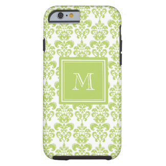 Your Monogram, Light Green Damask Pattern 2 Tough iPhone 6 Case