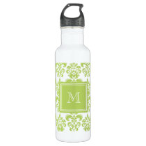 Your Monogram, Light Green Damask Pattern 2 Water Bottle