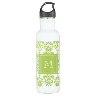 Your Monogram, Light Green Damask Pattern 2 Water Bottle