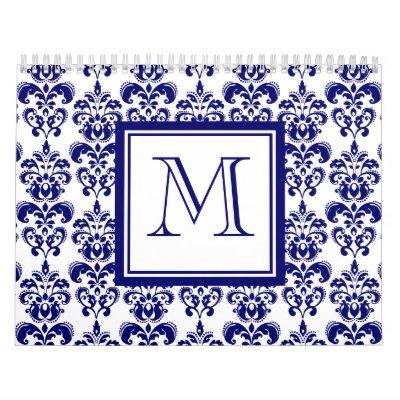 Your Monogram, Navy Blue Damask Pattern 2 Calendar