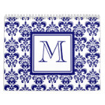 Your Monogram, Navy Blue Damask Pattern 2 Calendar