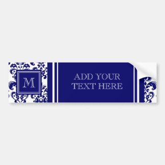 Your Monogram, Navy Blue Damask Pattern 2 Car Bumper Sticker