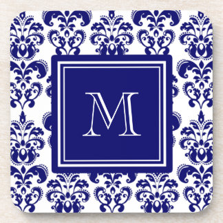Your Monogram, Navy Blue Damask Pattern 2 Drink Coaster