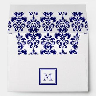 Your Monogram, Navy Blue Damask Pattern 2 Envelopes