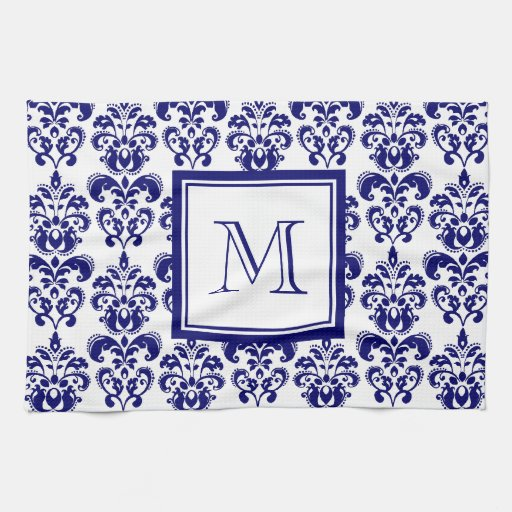Your Monogram, Navy Blue Damask Pattern 2 Kitchen Towel