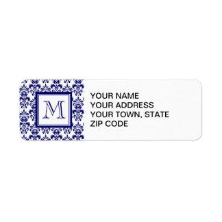 Your Monogram, Navy Blue Damask Pattern 2 Custom Return Address Labels