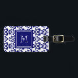 """Your Monogram, Navy Blue Damask Pattern 2 Luggage Tag<br><div class=""""desc"""">Beautiful shade of navy blue and white vintage damask pattern is a perfect gift for her. Personalize with your monogram, or your initial, or your letter or your name. Use the template field or select """"customize it"""" for more editing options to make your own, unique, one of a kind design....</div>"""