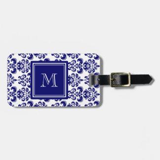 Your Monogram, Navy Blue Damask Pattern 2 Travel Bag Tag