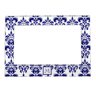 your monogram navy blue damask pattern 2 magnetic frame