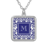 Your Monogram, Navy Blue Damask Pattern 2 Personalized Necklace