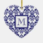 Your Monogram, Navy Blue Damask Pattern 2 Ornament