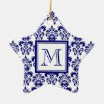 Your Monogram, Navy Blue Damask Pattern 2 Ornaments