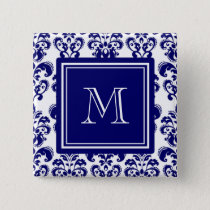 Your Monogram, Navy Blue Damask Pattern 2 Pinback Button