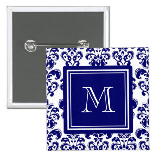 Your Monogram, Navy Blue Damask Pattern 2 Pinback Button