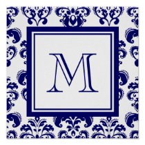 Your Monogram, Navy Blue Damask Pattern 2 Poster