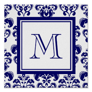 Your Monogram, Navy Blue Damask Pattern 2 Poster