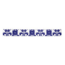 Your Monogram, Navy Blue Damask Pattern 2 Satin Ribbon