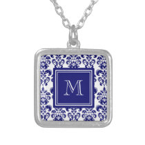 Your Monogram, Navy Blue Damask Pattern 2 Silver Plated Necklace