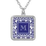 Your Monogram, Navy Blue Damask Pattern 2 Square Pendant Necklace