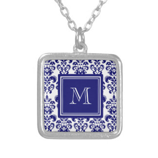 Your Monogram, Navy Blue Damask Pattern 2 Square Pendant Necklace