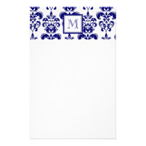 Your Monogram, Navy Blue Damask Pattern 2 Stationery