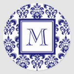 Your Monogram, Navy Blue Damask Pattern 2 Round Stickers