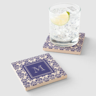 Your Monogram, Navy Blue Damask Pattern 2 Stone Coaster
