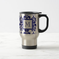 Your Monogram, Navy Blue Damask Pattern 2 Travel Mug