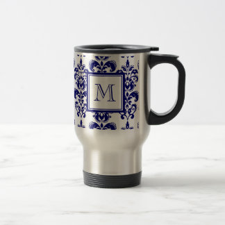 Your Monogram, Navy Blue Damask Pattern 2 Travel Mug