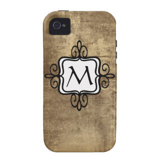 Your Monogram on Cute Beige Vintage Background iPhone 4 Case