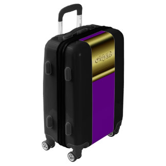 Your monogram on gold and royal purple luggage