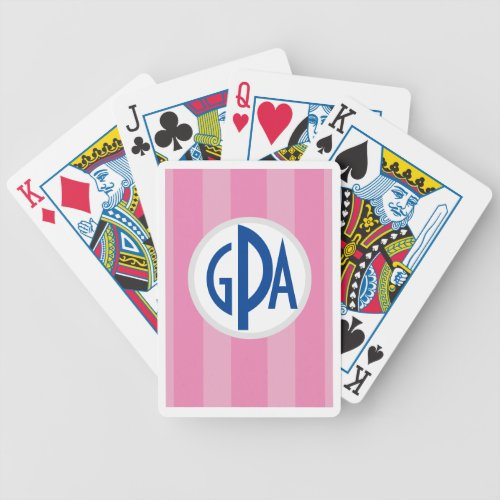 Your monogram on Raspberry âœBeach Chair Stripesâ Bicycle Playing Cards