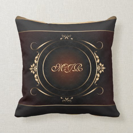 Your monogram on royal burgundy and gold throw pillow