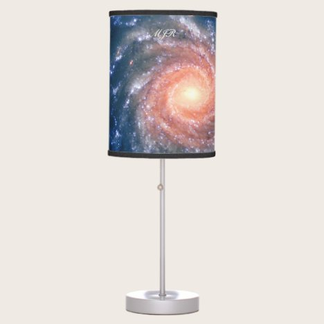 Your Monogram on Spiral Galaxy outer space image Table Lamp